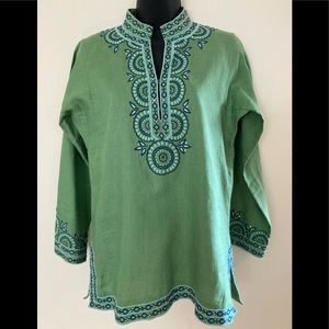 J.CREW Embroidered  & Beaded Linen Tunic. S